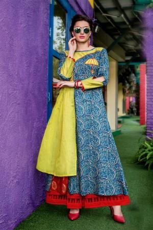 Majestic Multicolor Cotton Print with Fancy Kurti