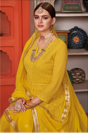 Yellow Georgette & Net Salwar Kameez