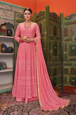 Pink Georgette & Net Salwar Kameez