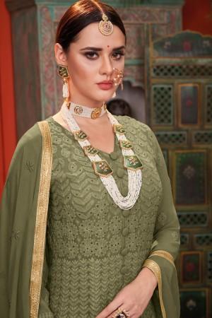 Mehendi Georgette & Net Salwar Kameez