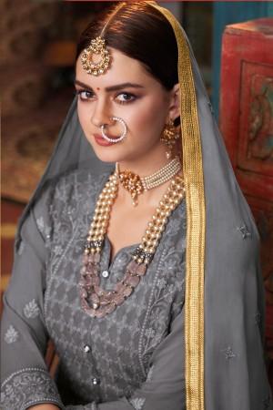 Grey Georgette & Net Salwar Kameez