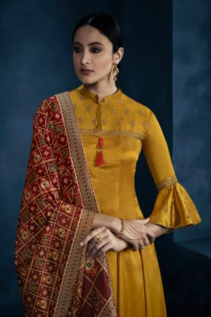 Yellow Silky Satin Georgette Gown