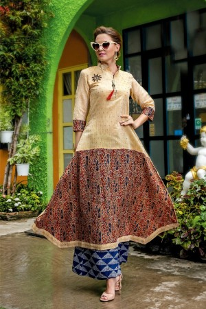Glamorous Multicolor Cotton Print with Fancy Kurti