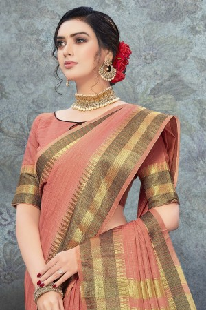 dark Peach Art Silk Saree with Blouse