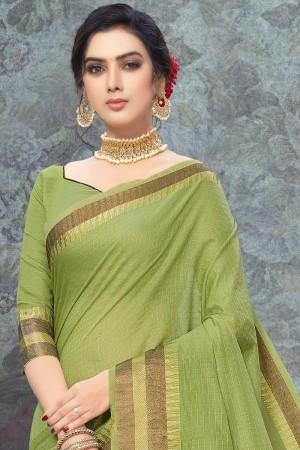 Parrot Green Art Silk Saree with Blouse