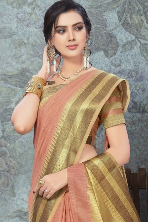 Peach Art Silk Saree with Blouse
