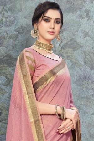 Light Pink Art Silk Saree with Blouse