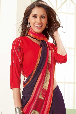 Wine Georgette Saree with Blouse