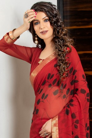 Red Georgette Saree with Blouse
