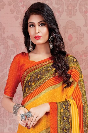 Multicolor Georgette Saree with Blouse