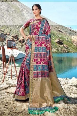 Multicolor Banarasi Silk Saree with Blouse
