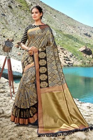 Grey & Black Banarasi Silk Saree with Blouse
