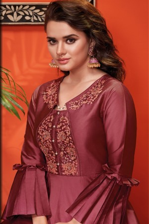 Maroon Heavy Soft Silk Gown
