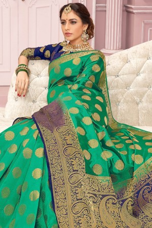 Green Poly Silk Saree with Blouse