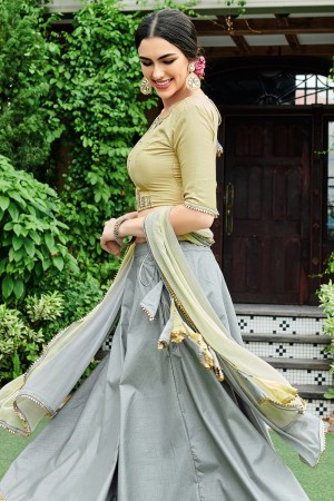 Grey & Olive Mull Cotton Lehenga Choli