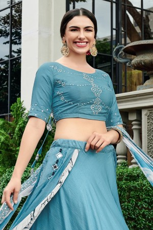 Light Blue & White Mull Cotton Lehenga Choli