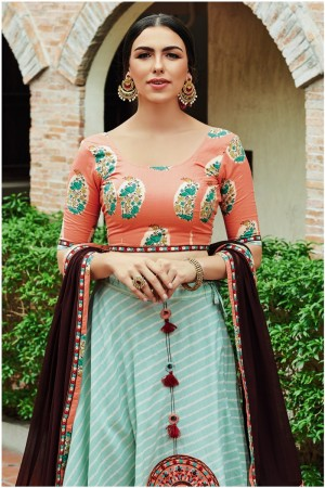 Light Teal Mull Cotton Lehenga Choli