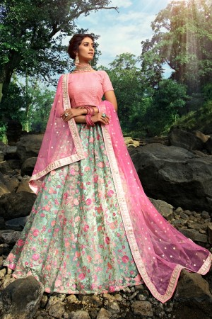 Sky Blue Soft Net Lehenga Choli