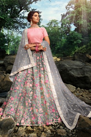 Grey Soft Net Lehenga Choli