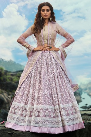 Light Purple Soft Net Lehenga Choli