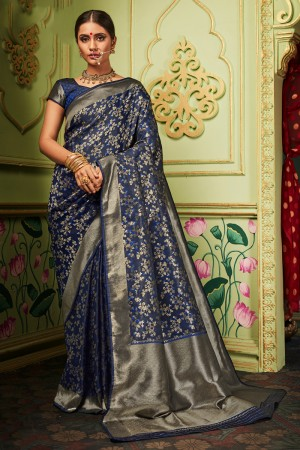 Navy Blue Banarasi Silk Saree with Blouse