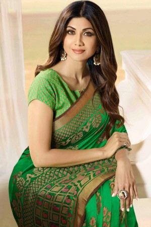 Shilpa Shetty Green Silk Brasso Saree with Blouse