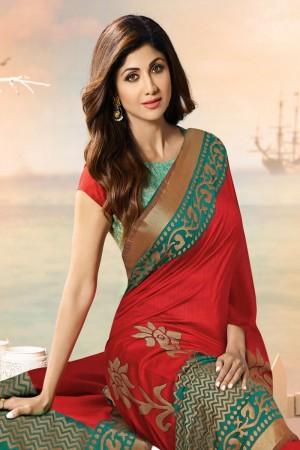 Shilpa Shetty Red Silk Brasso Saree with Blouse