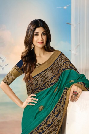Shilpa Shetty Teal Silk Brasso Saree with Blouse