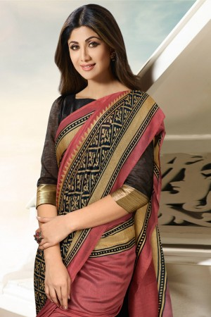 Shilpa Shetty Gajari Silk Brasso Saree with Blouse