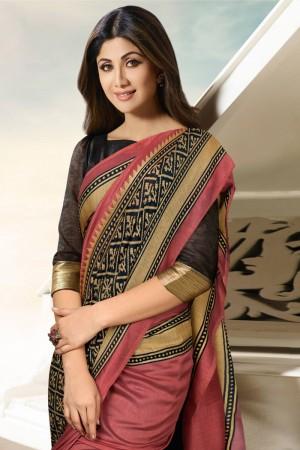 Shilpa Shetty Gajari Silk Brasso Saree with Blouse