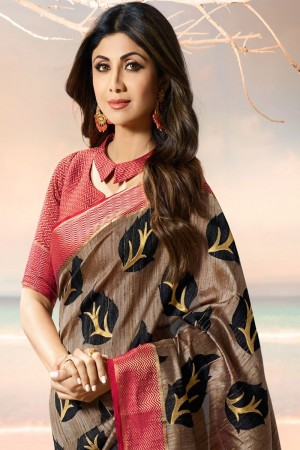 Shilpa Shetty Light Brown Silk Brasso Saree with Blouse