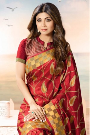 Shilpa Shetty Red Silk Brasso Saree with Blouse