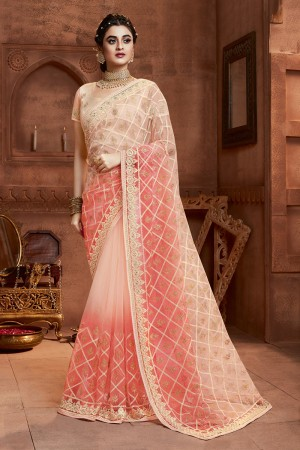 Peach Net Saree with Blouse