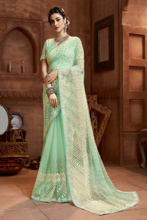 Mint Net Saree with Blouse