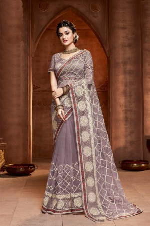 Lavender Net Saree with Blouse