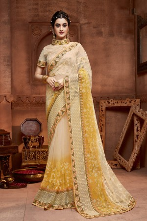 Cream&Yellow Net Saree with Blouse