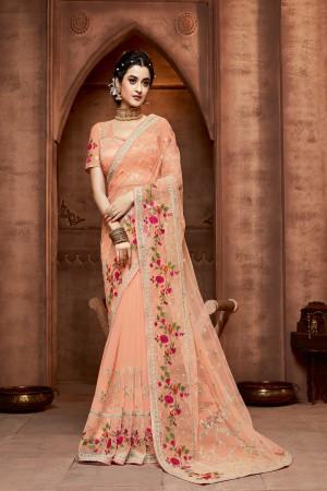 Orange Net Saree with Blouse