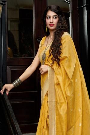 Yellow Banarasi Cotton Silk Saree with Blouse