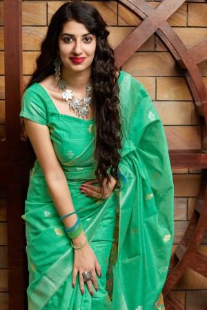 Turquoise Banarasi Cotton Silk Saree with Blouse