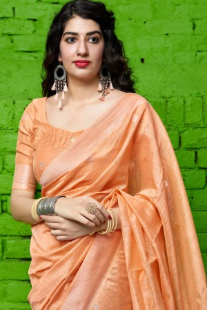 Peach Banarasi Cotton Silk Saree with Blouse