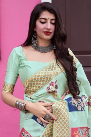 Light Pista Green Banarasi Silk Saree with Blouse