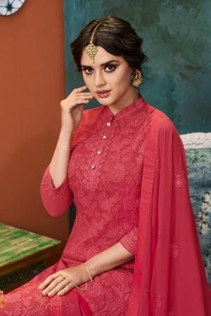 Red Heavy Faux Georgette Salwar Kameez