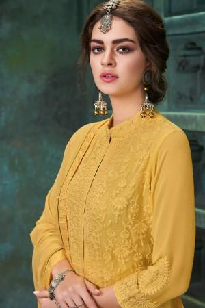 Mustard Heavy Faux Georgette Salwar Kameez