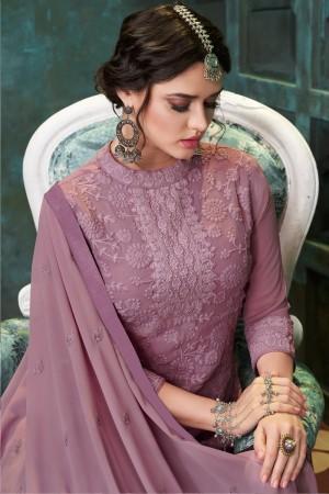Light Purple Heavy Faux Georgette Salwar Kameez