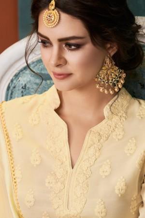 Cream Heavy Faux Georgette Salwar Kameez