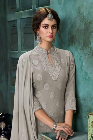Grey Heavy Faux Georgette Salwar Kameez