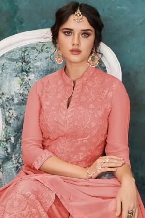 Peach Heavy Faux Georgette Salwar Kameez