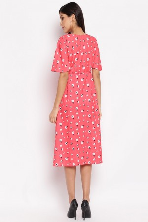 Tometo Red Crepe Western Dress