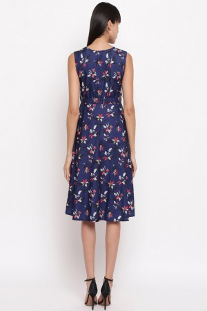 Navy Blue Crepe Western Dress