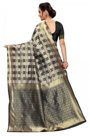 Black Banarasi Silk Saree with Blouse